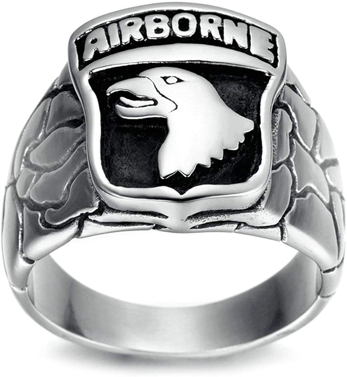 TIANYI Men's Airborne Eagle Ring Stainless Steel Air Force Eagle Ring Biker Punk Band
