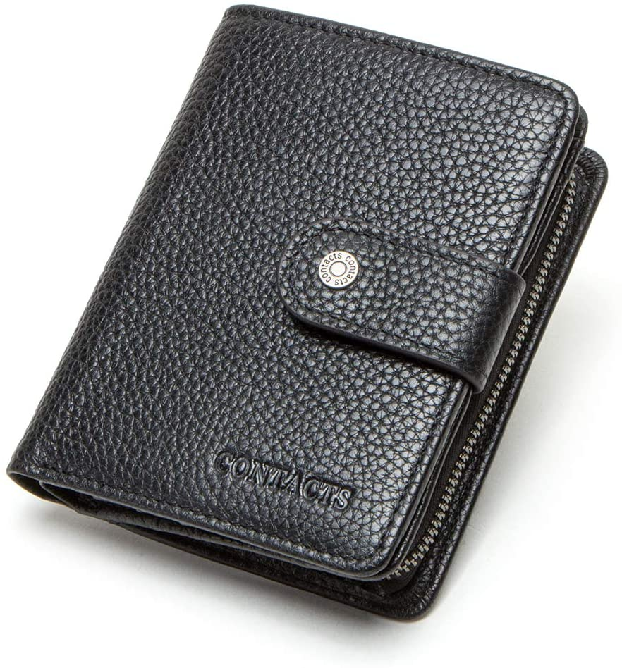 Contacts Mens RFID Blocking Full Grain Leather Zipper Coin Pocket Purse Bifold Wallet (Black)