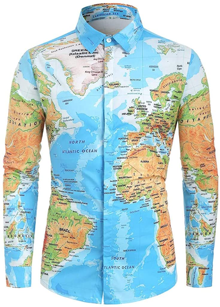 Men's Slim Fit Shirts Casual World Map 3D Print Long Sleeve Turn-Down Collar Button-Down T-Shirts Funny Tops