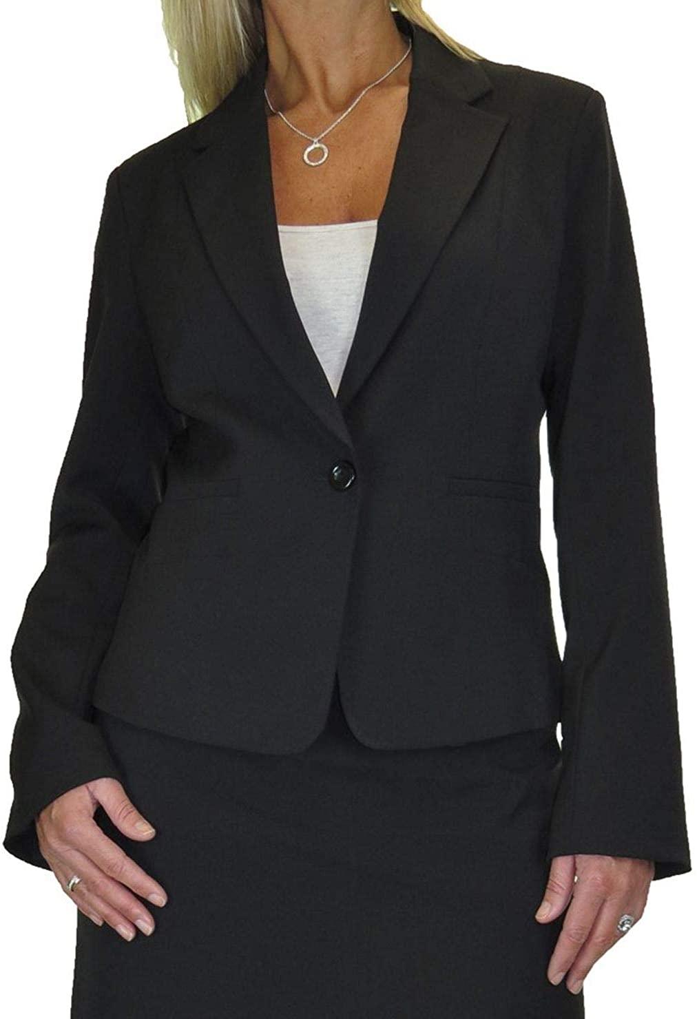 icecoolfashion Womens Jacket Fully Lined Washable Business Office Black 6-14