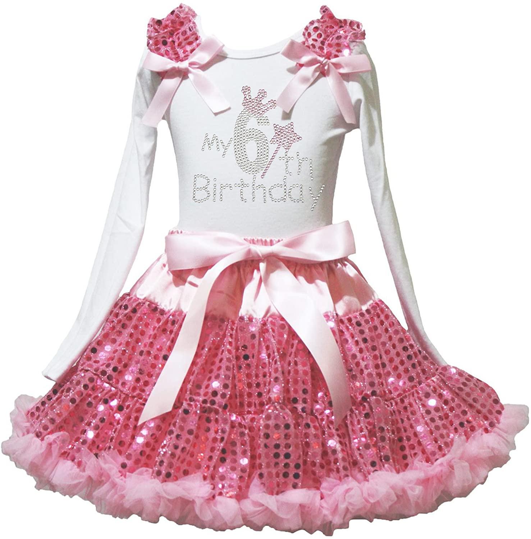 Petitebella Rhinestones My 1st to 6th White L/s Shirt Pink Sequins Petti Skirt 1-8y