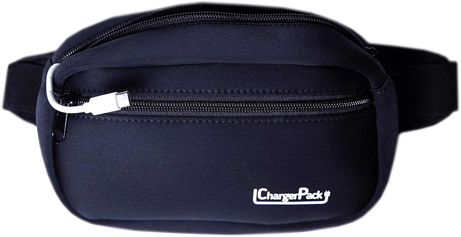 ChargerPack Fanny Pack Waterproof with charging cord for iphone 11 X Galaxy S10 Black Men & Women Travel Hiking Waist Bag