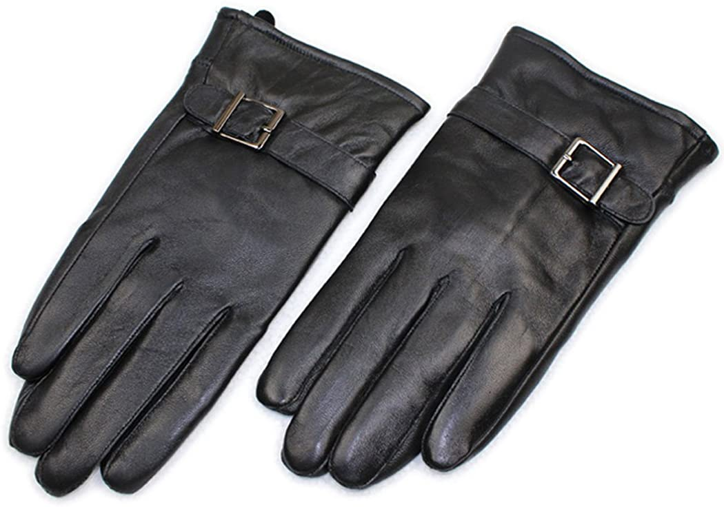 HINY Men's Leather Warm Lined Winter Driving Gloves with Buckle Wrist A