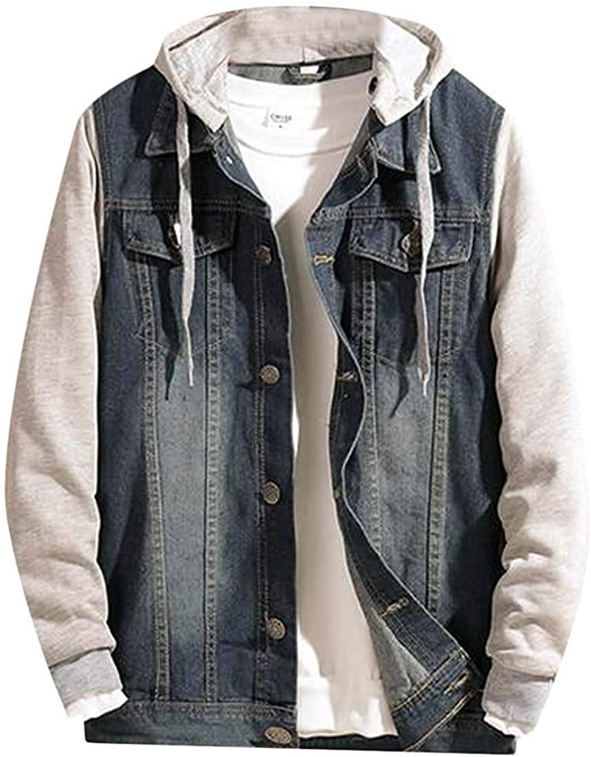 Sudhguyfuy Men's Classic Denim Jacket Button Up Removable Hoodie Cowboy Coat Outwear