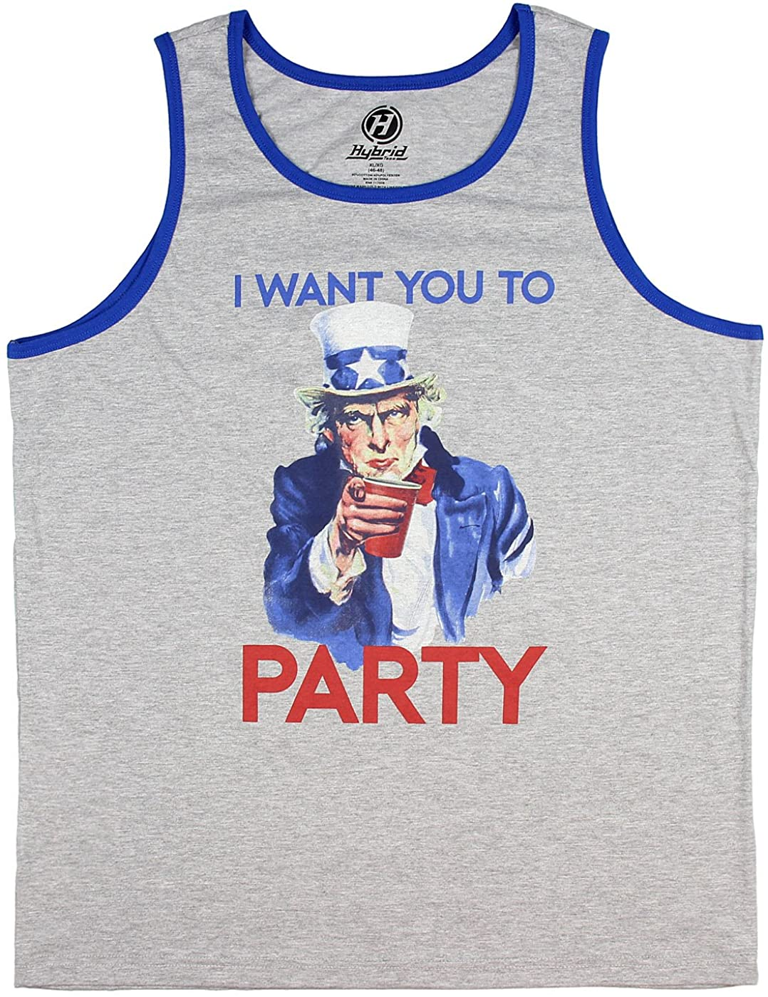 Fashion Uncle Sam I Want You To Party Graphic Tank Top
