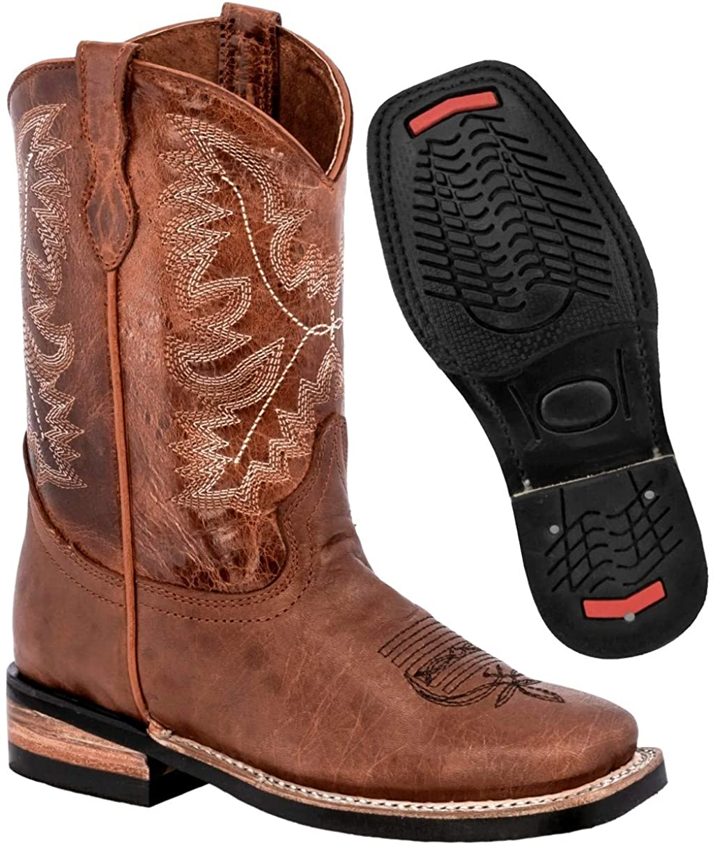 Kids 10 Toddler Western Cowboy Boots Real Leather Square Toe Pull On 10 Toddler Chedron