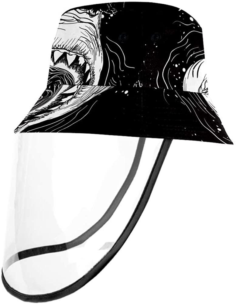 Great White Shark Attack Ocean Fish Protective Bucket Sun Hat Unisex Caps Outdoor Hats