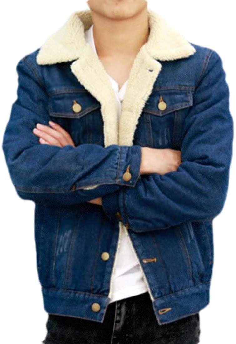 Sudhguyfuy Mens Fleece Lined Sherpa Windbreaker Button Up Winter Outdoor Jeans Jacket,Cowboy Blue,Large