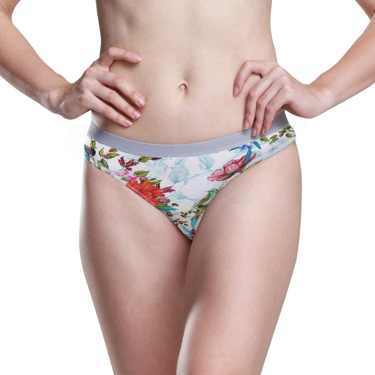 Women Underwear Bikini Poppy Wild Flower Roses Nightingale Birds 3D Printed Sexy Low Waist Panties Hipster Comfy Briefs S