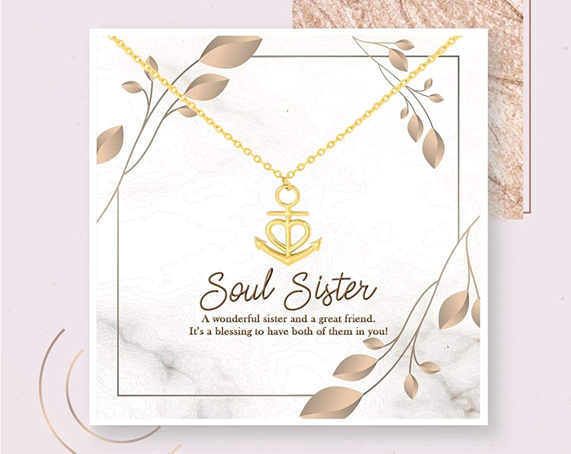 iWow Inspirational Soul Sister Necklace Soul Sister Gift Personalized Gift Special Friend Gold Necklace Sister Friendship Gift Best Friend On Christmas, Anniversary