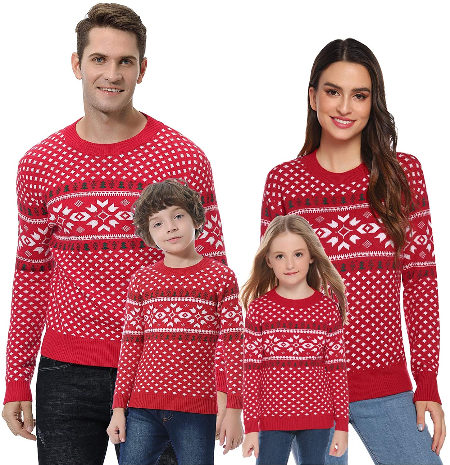 Abollria Christmas Sweater for Family Matching Ugly Christmas Funny Xmas Snowflake Sweaters Pullover(Dad/Mom/Kids) Red,Dad XX-Large