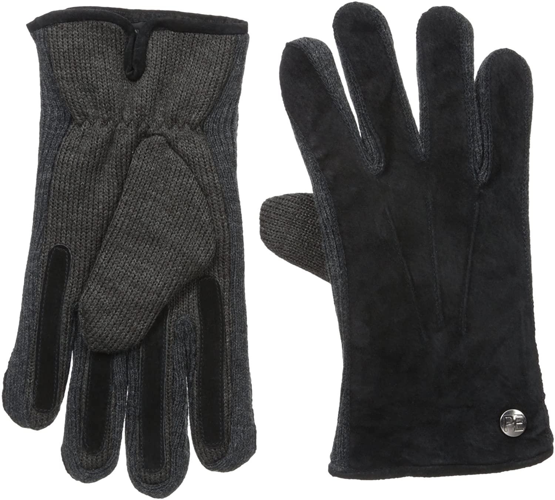 Perry Ellis Men's Suede Gloves W/Rib Knit