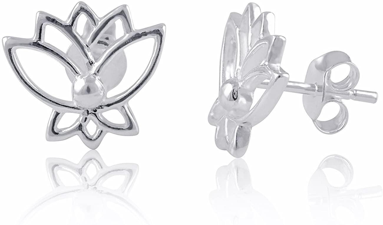 Sterling Silver Lotus Flower Stud Earrings 0.59in