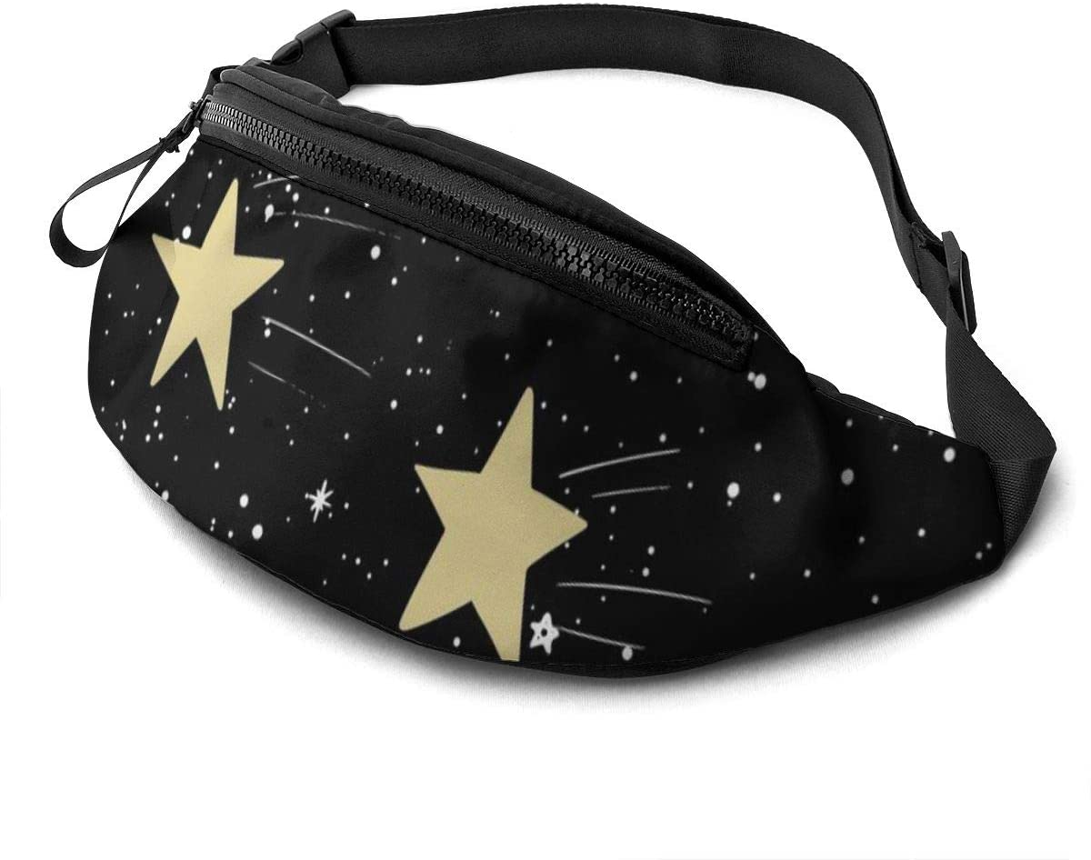 Hand Drawn Pattern With Stars Fanny Pack For Men Women Waist Pack Bag With Headphone Jack And Zipper Pockets Adjustable Straps