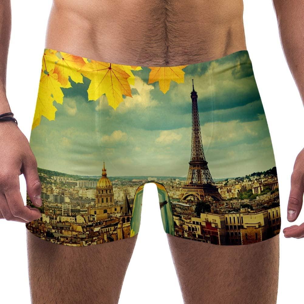 Mens Autumn Leaves Paris Eiffel Tower Swimsuits Swim Trunks Shorts Athletic Swimwear Boxer Briefs Boardshorts