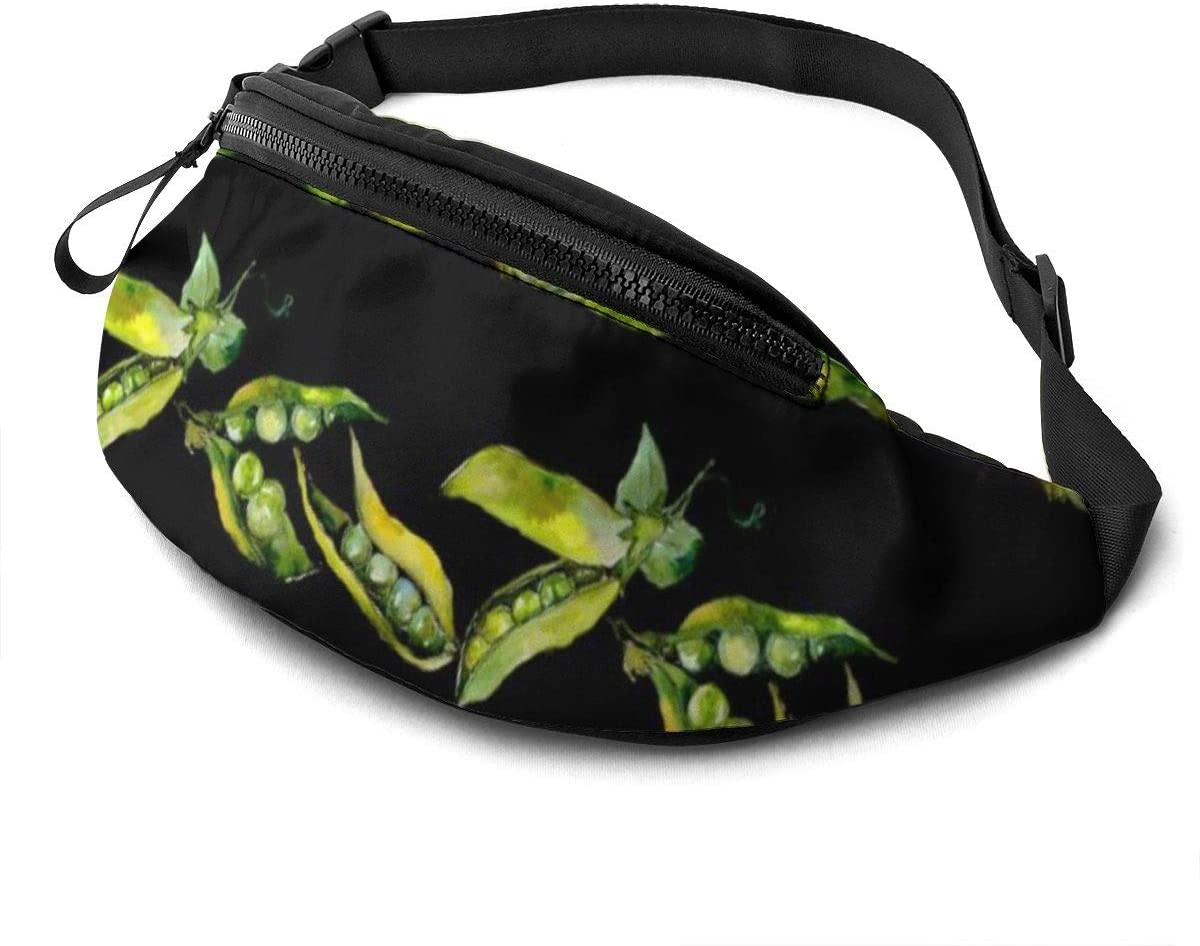 Pea Sed Wild Vegetables Pattern Fanny Pack For Men Women Waist Pack Bag With Headphone Jack And Zipper Pockets Adjustable Straps