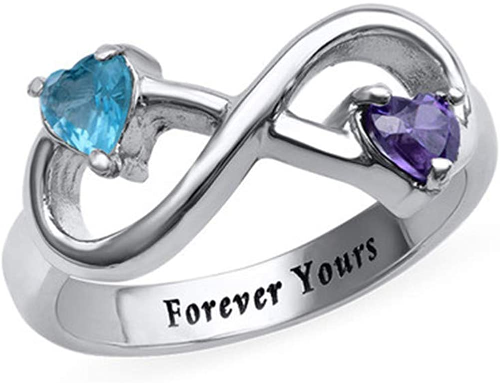 DARUIRONG 925 Sterling Silver Personalized Fashion Gift Infinity Ring with Two Heart Birthstone (Silver)