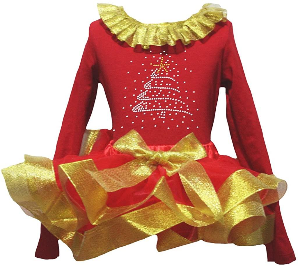 Petitebella Rhinestone Xmas Tree Red L/s Shirt Petal Skirt Gold Ribbon Set Nb-8y