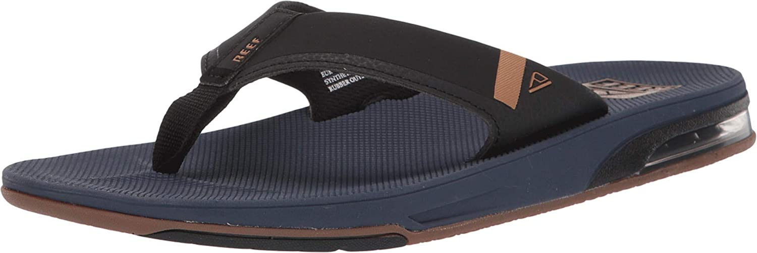 Reef Mens Sandals | Fanning Low| Bottle Opener Flip Flops with Arch Support, Navy, 7