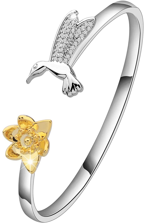SEIRAA Hummingbird Rings Cuff Bangle Hummingbird Jewelry Gift for Hummingbird Lover