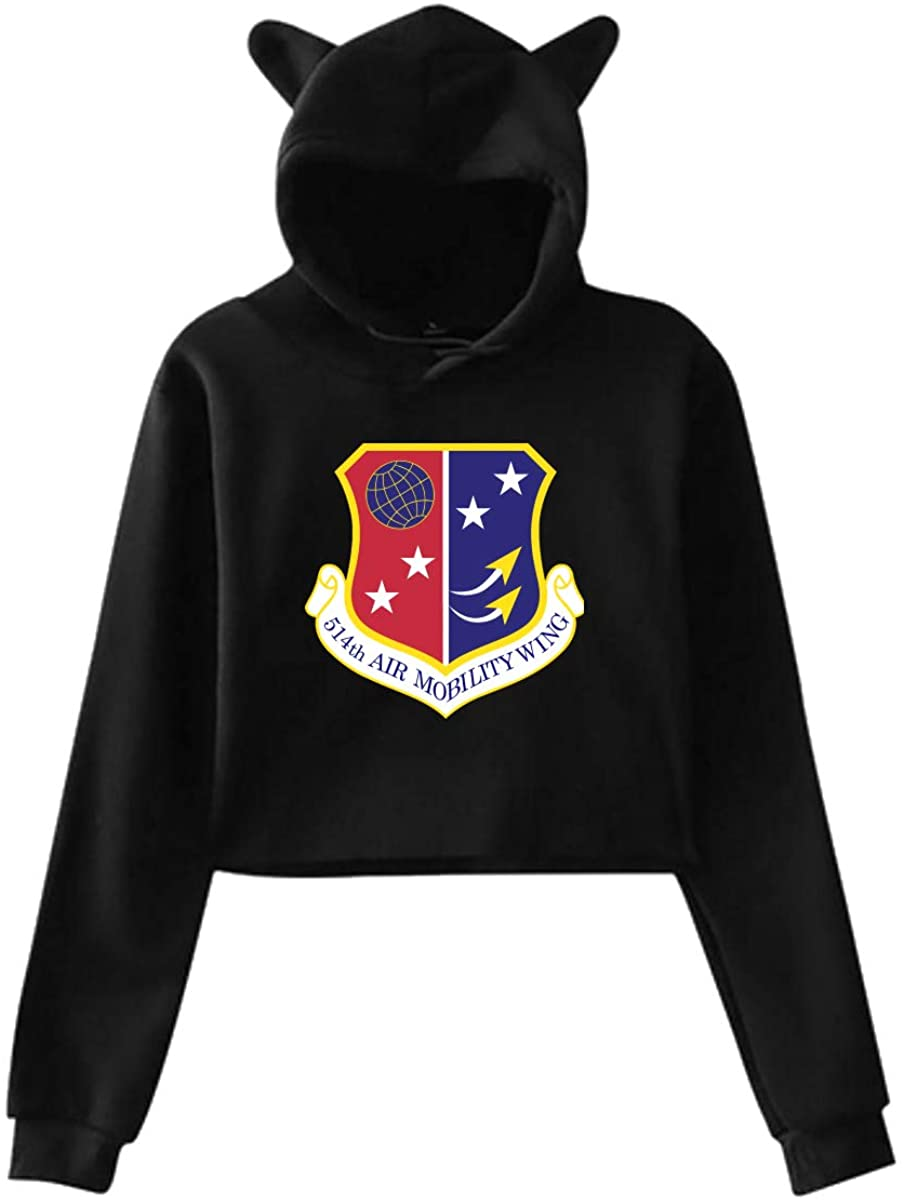 Air Force Reserve Command 3 Women Fashion Cat Ear Fleeces Midriff-Baring Fleeces