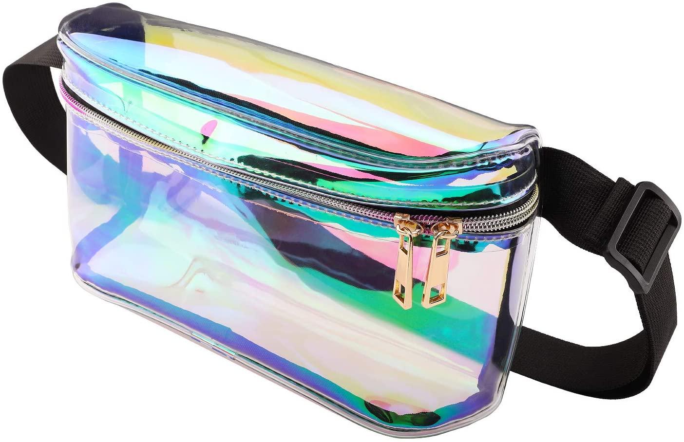 MoKo Holographic Rave Fanny Pack for Women & Men, Water Resistant Adjustable Belt Waist Bag, Shoulder Bag Crossbody Bag for Beach, Party, Travel