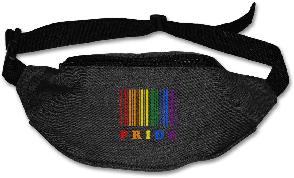 SWEET-YZ Unisex Waist Pack LGBT Pride Barcode Flat Fanny Bag Pack for Sport Running