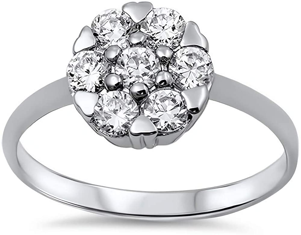 Glitzs Jewels 925 Sterling Silver CZ Ring (Clear) | Cubic Zirconia Jewelry Gift