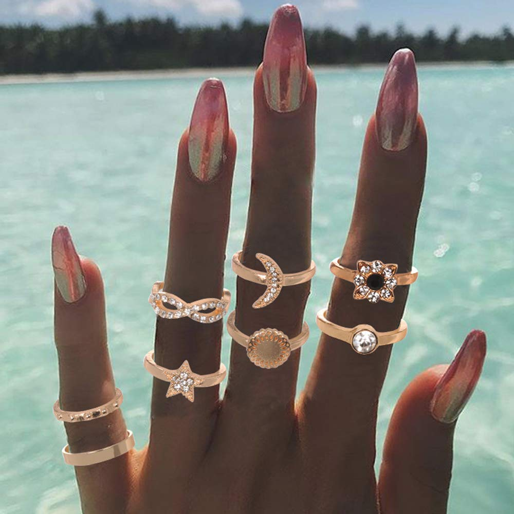 BERYUAN 8Pcs Trendy Rhinestone Flower bowknot Gold Moon star Knuckle Ring Set Gift For Her Vintage Gold Ring Set For Women And Girls Teens