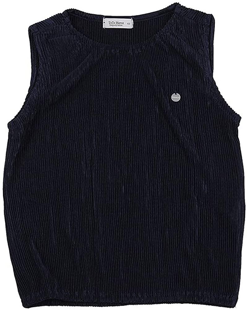 TOTO HEROS Girls Pleated T-Shirt Tee Shirt Wrinkle-Free Pull-on Closure