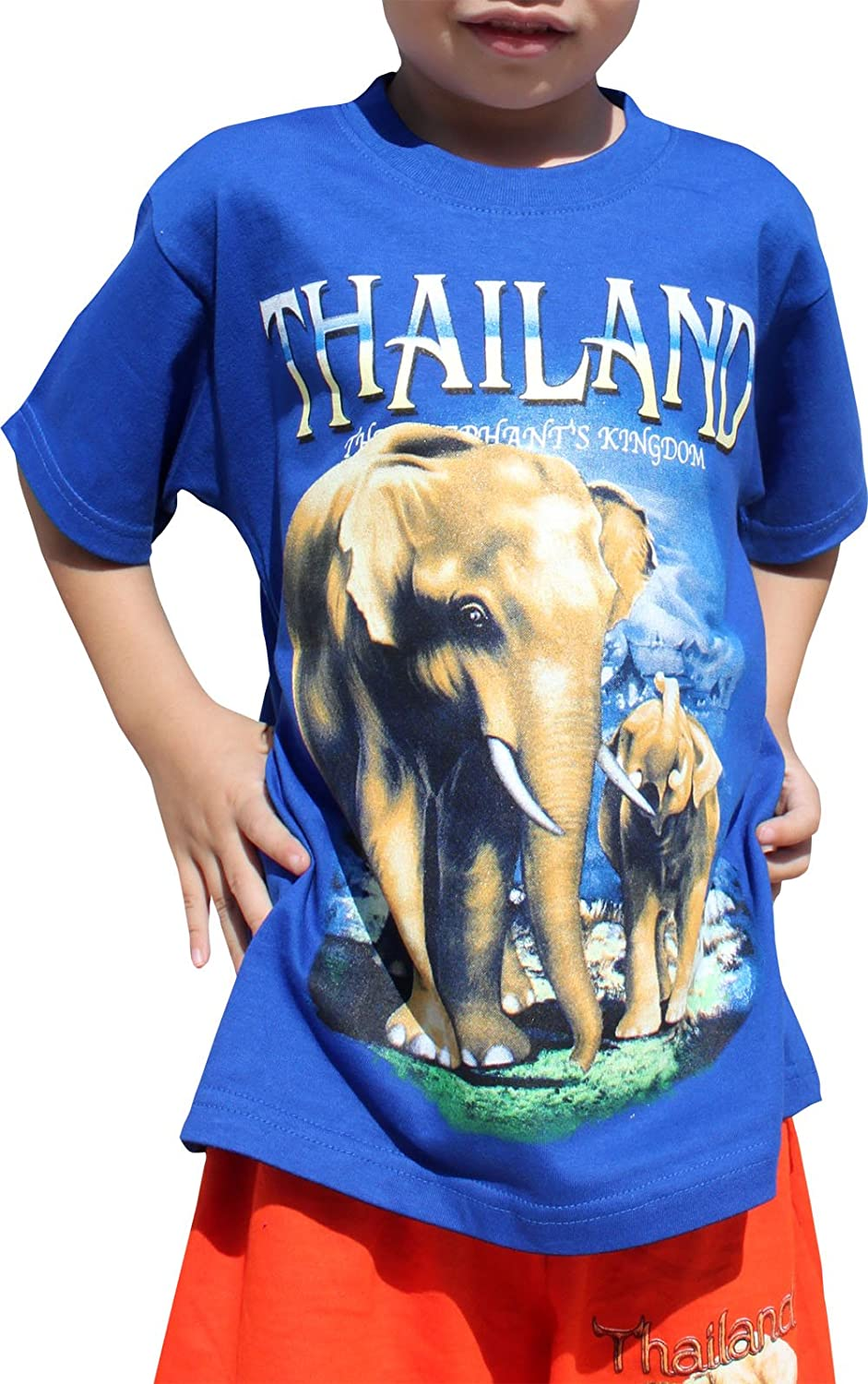 Full Funk Cotton Childrens Shirt Sawasdee Thailand Elephant Nature Culture, Large, Blue