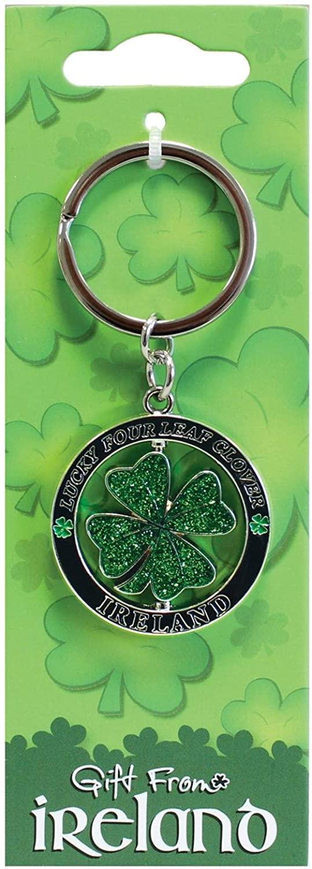 Lucky Irish Clover Spinner Keychain, Green, One Size