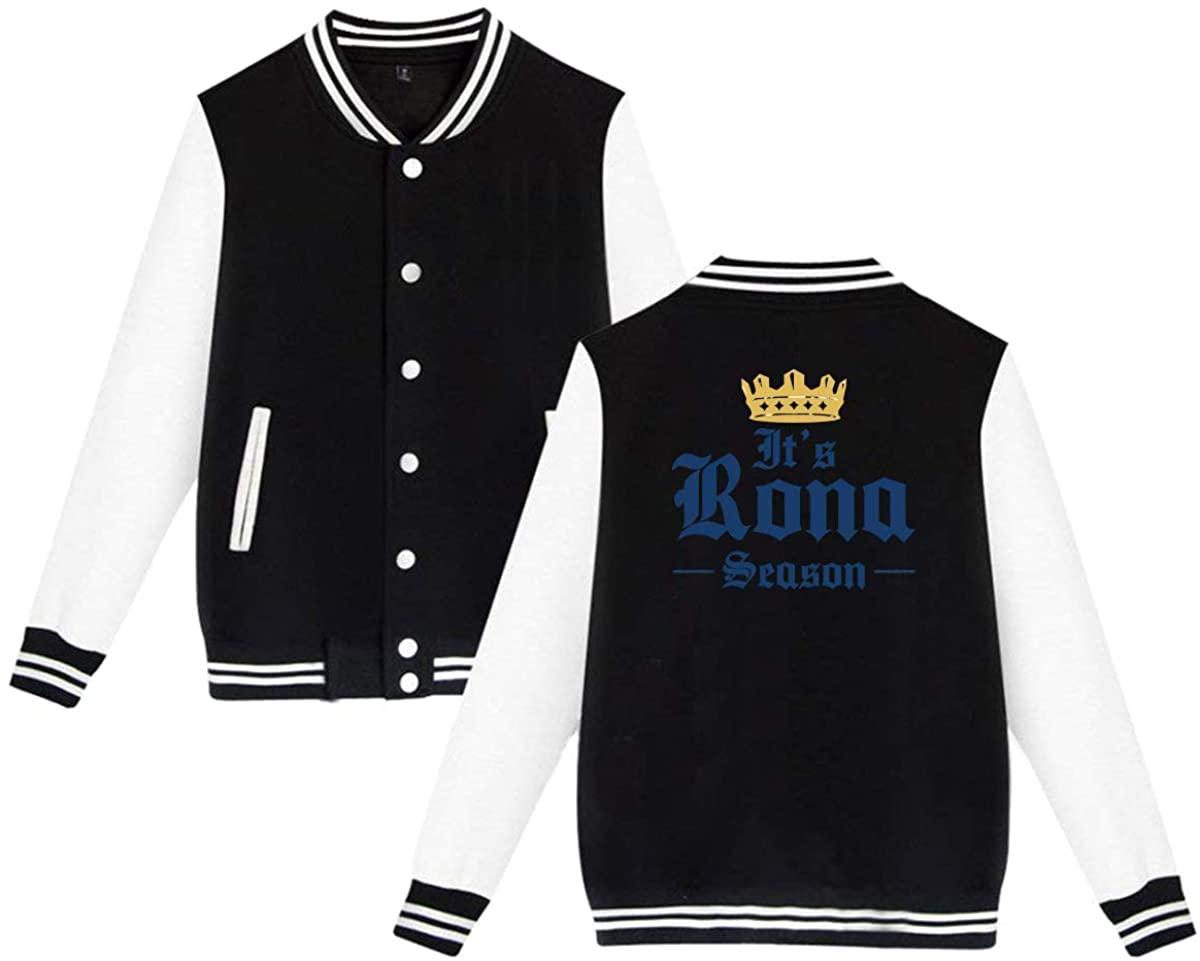 HUYAJGODGP-kiusdm Rona Season Unisex Baseball Jacket Varsity Jacket Black