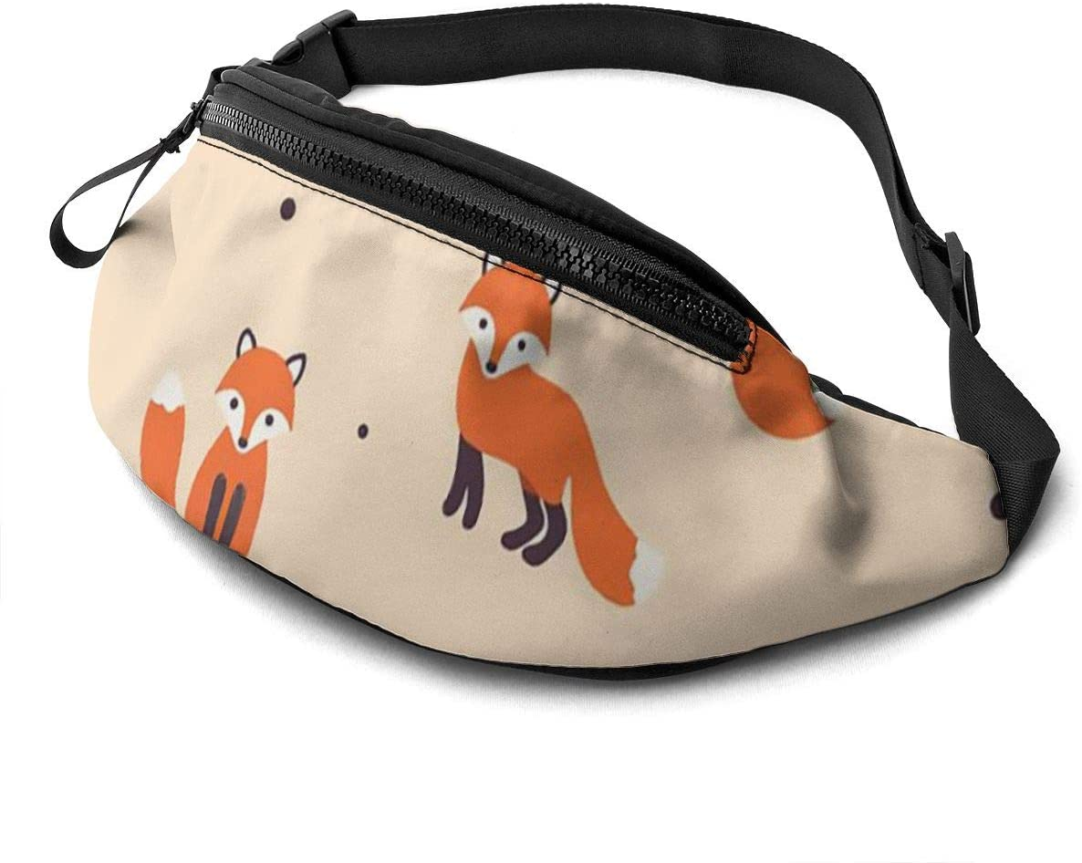 Vintage Cute Little Red Fox Fanny Pack For Men Women Waist Pack Bag With Headphone Jack And Zipper Pockets Adjustable Straps
