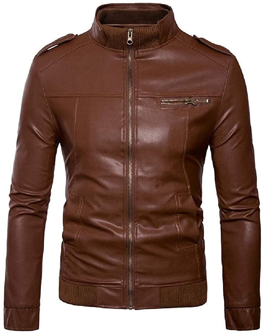 Gsdgjgg Mens Regular Fit Moto Biker Faux Leather Jacket Fall Winter Stand Collar Coat Outerwear,Brown,X-Small