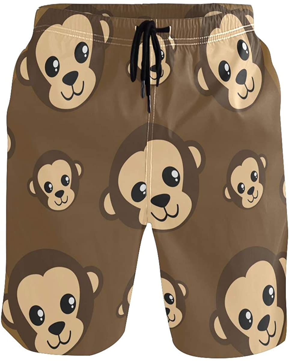 Mens Swim Trunks Quick Dry Cute Animals Monkey Swimming Trunks with Pocket