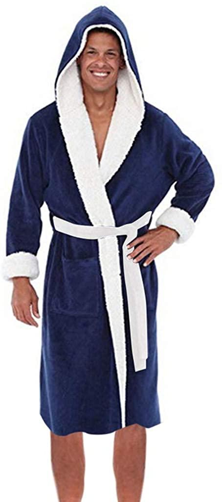 VZEXA Mens Robes Autumn Winter Lengthened Fleece Warm Bathrobe Hooded Kimono Home Pajamas
