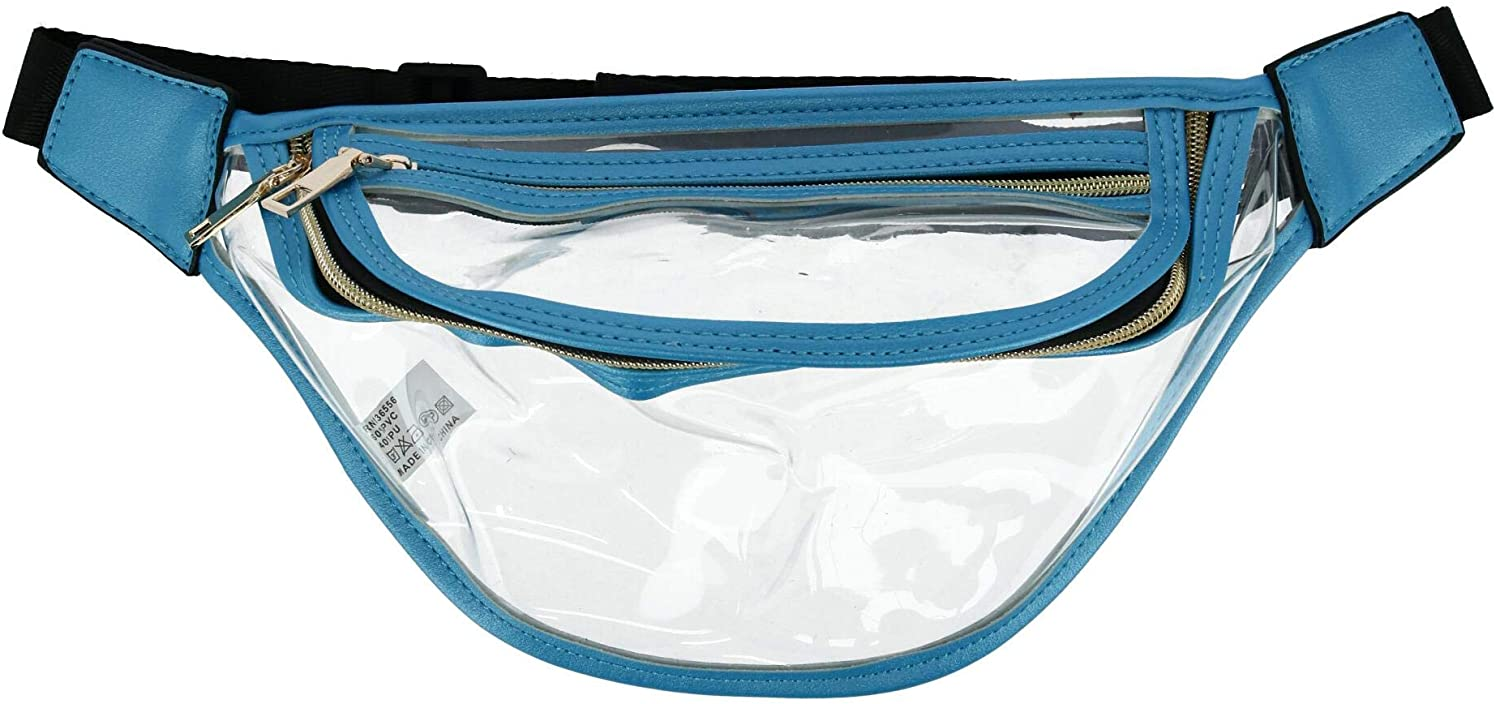 Love of Fashion Clear Fanny Waist Pack with Solid Trim, Blue