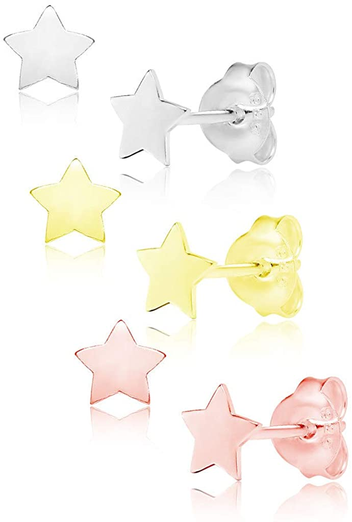 Big Apple Hoops - High Polished Real 925 Sterling Silver 3 Pairs of Mini Cute Star Stud Earrings Set in 3 Color Rose, Silver or Gold Special Gifts for Men, Teens, Women