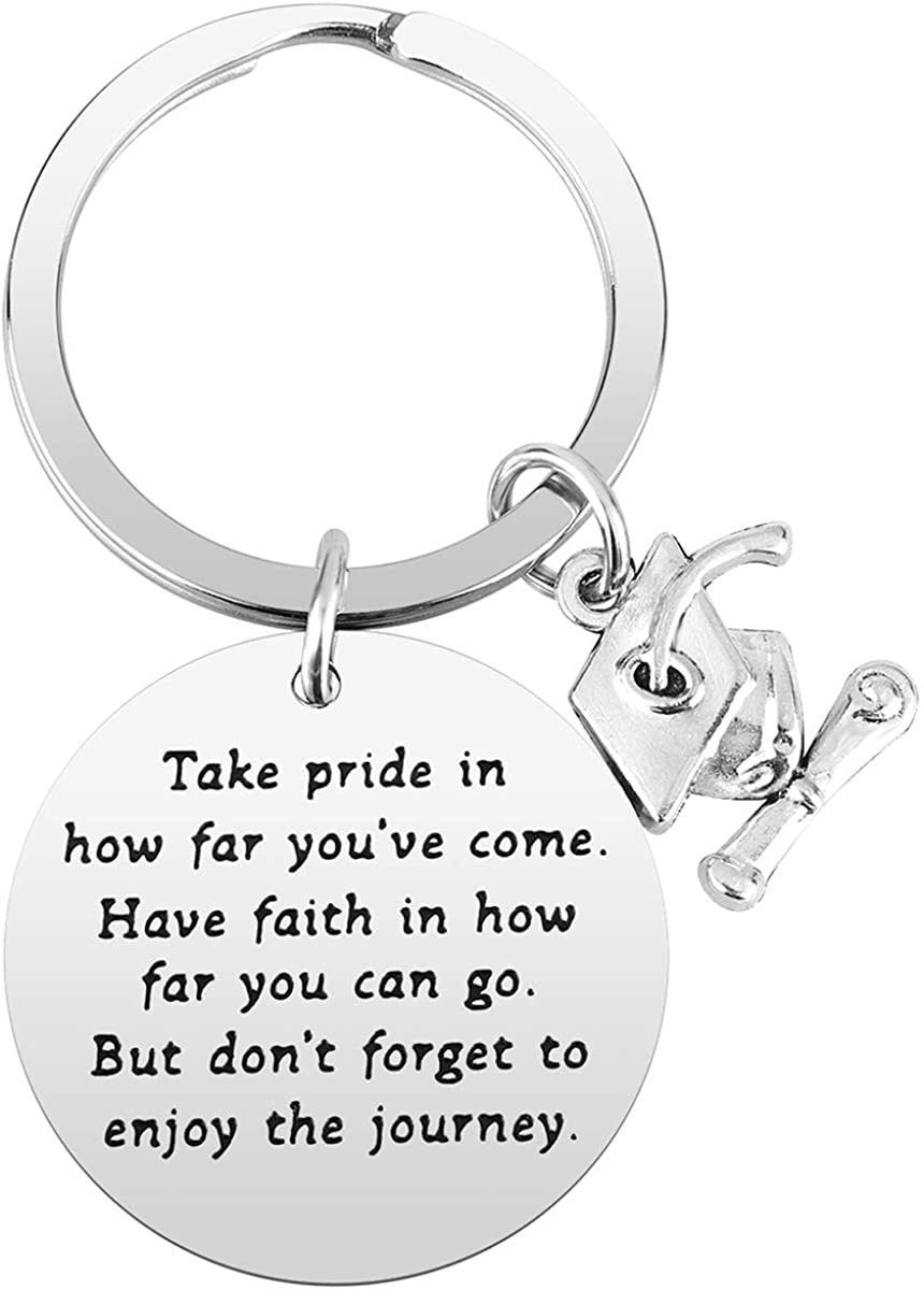 College Graduation Gift for Her - Behind You All Your Memories Graduation Keychain Jewelry for Women Inspirational Motivational Keychain for Graduates
