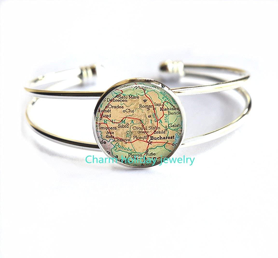 Romania map Bracelets, Romania map Bracelet, Romania Bracelets, Charming map Jewelry.D0109