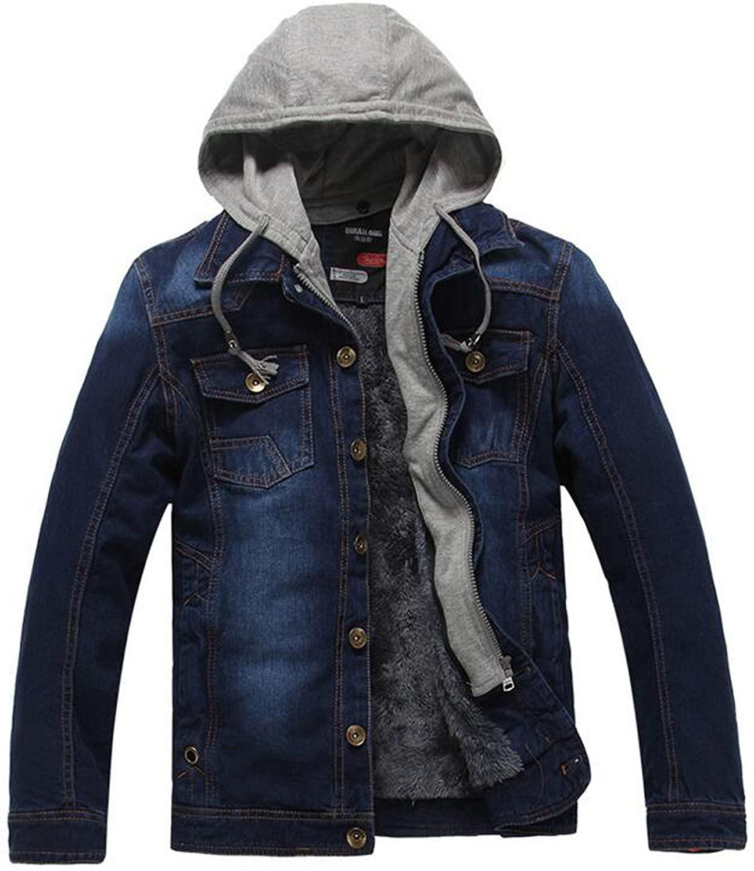 BATUOS Men's Casual Vintage Hooded Jacket Thick Denim Jacket