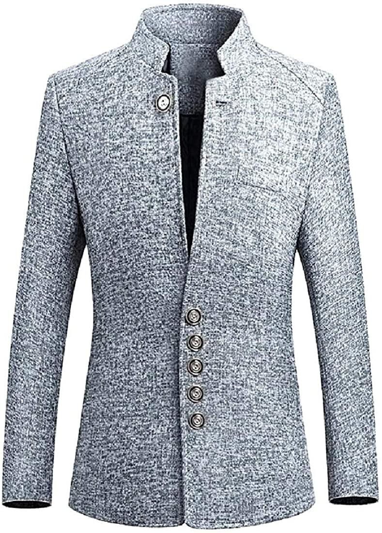 Men Modern Notched Oversized Blazer Wedding Lapel Jacket Coat,Gray,US 3X-L=China 4XL