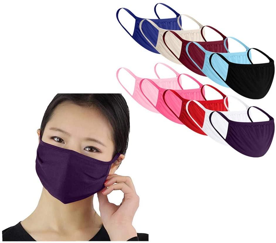 10PC Adult Men Women Anti-dust Face Bandanas Reusable Breathable Windproof Outdoor Cloth Bandanas Multicolor (10, Multicolor)