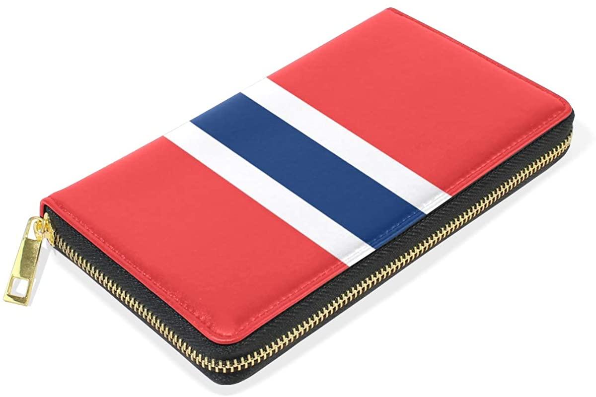 Slim Minimalist Leather Wallets For Women Men Norwegian Flag