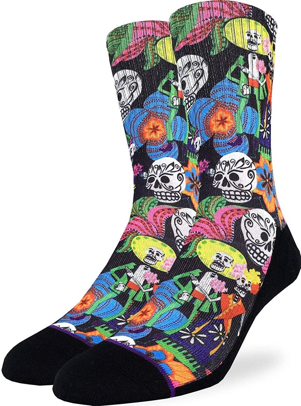 Good Luck Sock Men's Catrinos & Catrinas Skulls Socks - Adult Shoe Size 8-13
