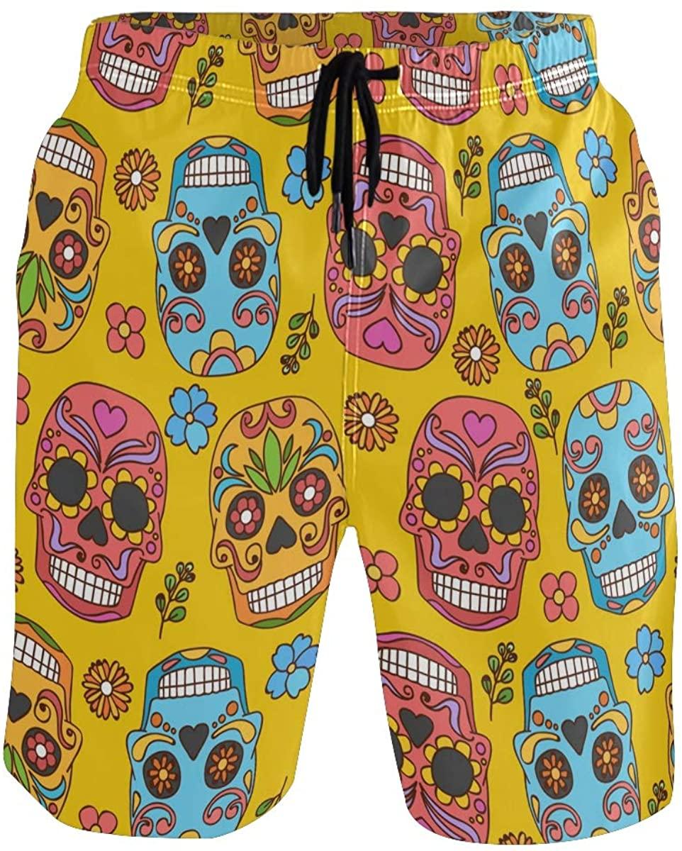 Mens Swim Trunks Dead Day Sugar Skull Halloween Board Shorts with Pocket