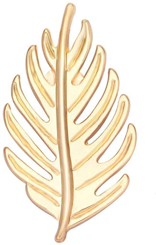 SENFAI Gold Leaf Cycas Flowering Brooch Magnetic Clip Holder Brooch Jewelry (Gold)