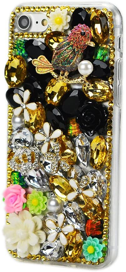 STENES ASUS ZenFone 4 Max Case - STYLISH - 100+ Bling Crystal - 3D Handmade Sparky Night Owl Crown Rose Flowers Design Protective Case For ASUS ZenFone 4 Max - Gold