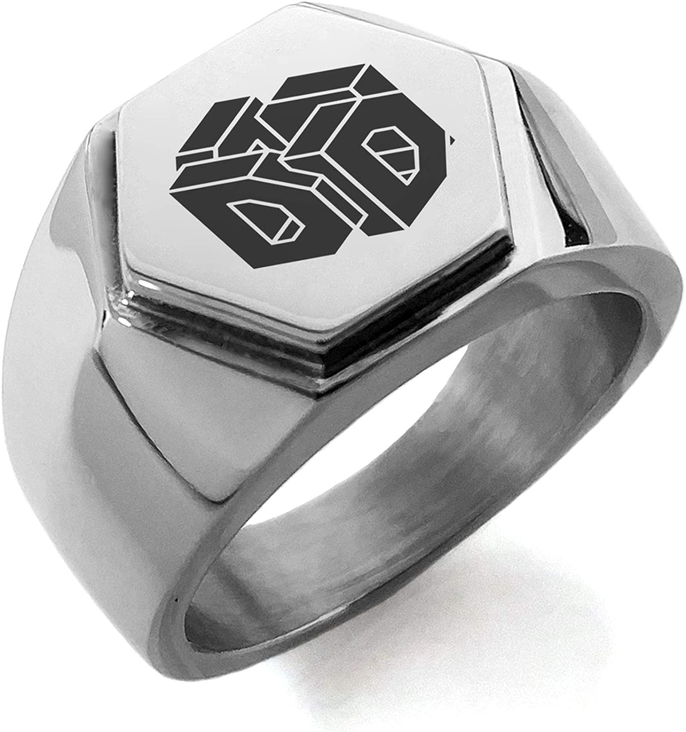 Stainless Steel Letter D Alphabet Initial 3D Cube Box Monogram Hexagon Crest Flat Top Biker Style Polished Ring
